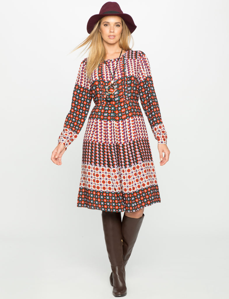 Geometric Print Dress-Eloquii-Estrella Fashion Report-Plus Size Dresses