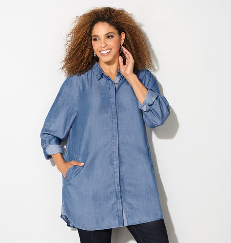 Denim Shirt-Plus Size Denim Shirts-Avenue-Estrella Fashion Report