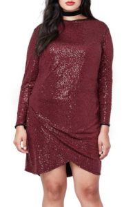 burgundy-plus-size-sequin-dress