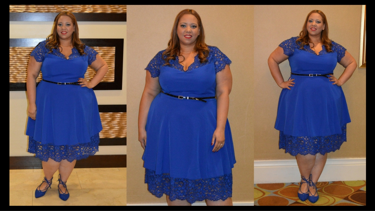 2d0b6602ac8 OOTD  Cobalt Blue Lace Trim Fit   Flare Dress by Christian Siriano x Lane  Bryant