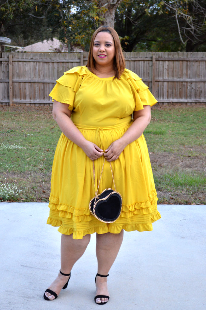 Plus Size Outfit of the Day: Yellow Fit & Flare Dress With Ruffles ...
