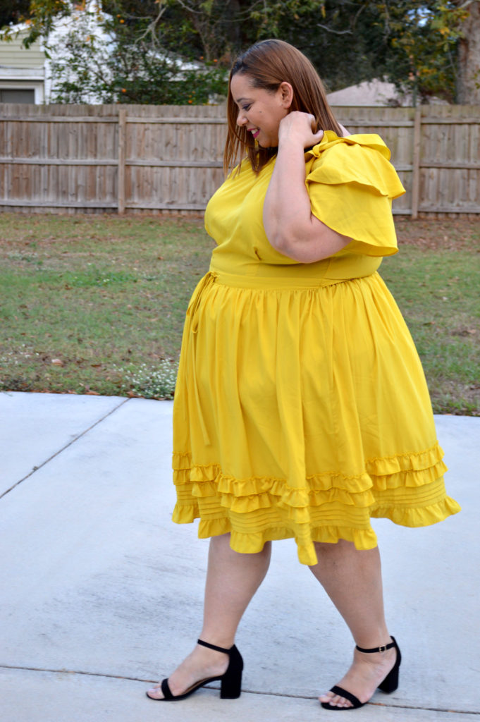6ac5511f1c Plus Size Outfit of the Day  Yellow Fit   Flare Dress With Ruffles ...