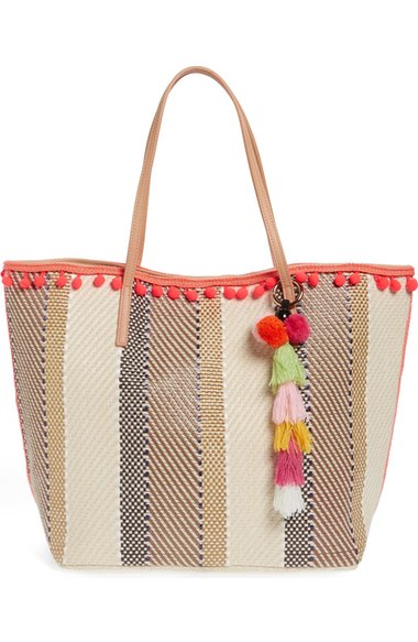 sondra-roberts-Striped-Ball-Fringe-tote-and-Wristlet-nordstrom