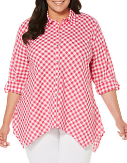 rafaella-plus-gingham-check-cotton-shirt