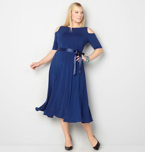 blue-seamed-cold-shoulder-dress-from-avenue