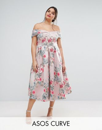 asos-curve-SALON-Floating-Bardot -jacquard-Midi-Prom-Dress