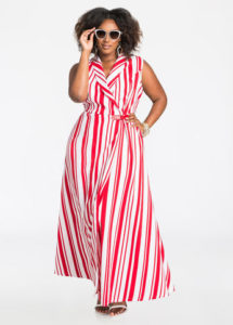 plus-size-americana-side-buckle-striped-maxi-dress