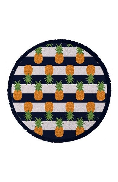 nautical-pineapple-beach-round-towel