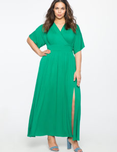 green-plus-size-kimono-sleeve-maxi-dress