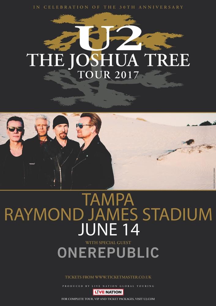 u2-the-joshua-tree-tour-2017-in-tampa-poster