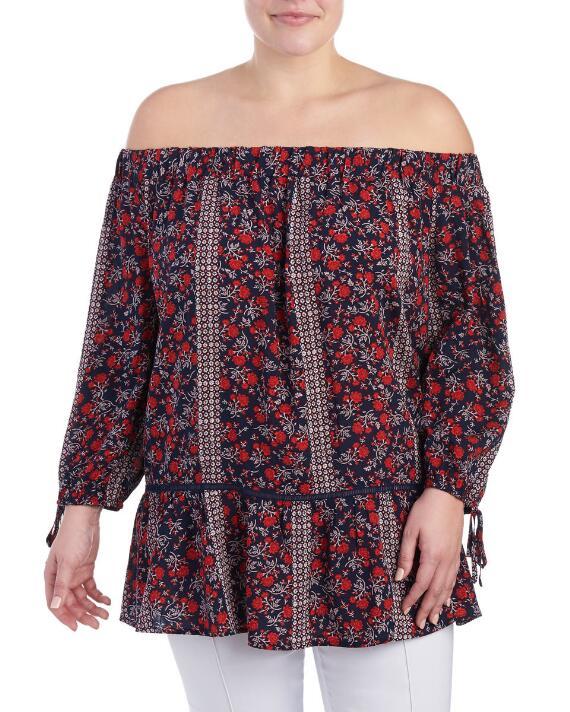 plus-size-floral-off-the-shoulder-blouse