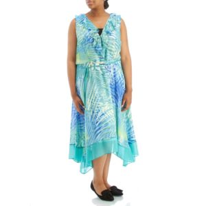 Plus-Size-Printed-Chiffon Shark-Bite-Ruffle-Dress-from-sandra-darren-at-burlington