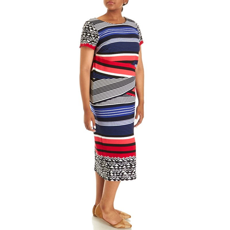Plus-Size-textured-Knit-Dress-with-Cap-Sleeves-and-Stripes