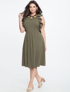 olive-plus-size flutter-sleeve-fit-and-flare-dress-from-eloquii