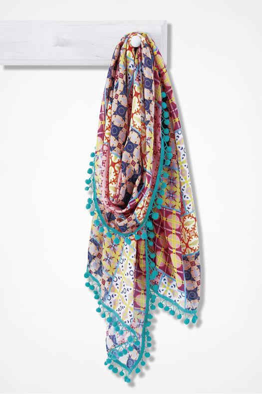 patchwork-print-pompom-scarf