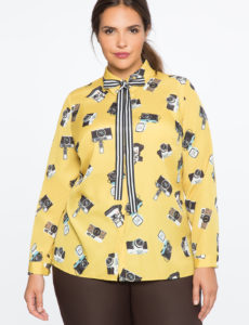plus size conversational blouse with tie from eloquii