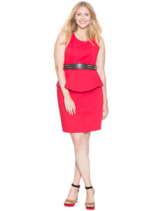 sleeveless pleated red plus size peplum dress