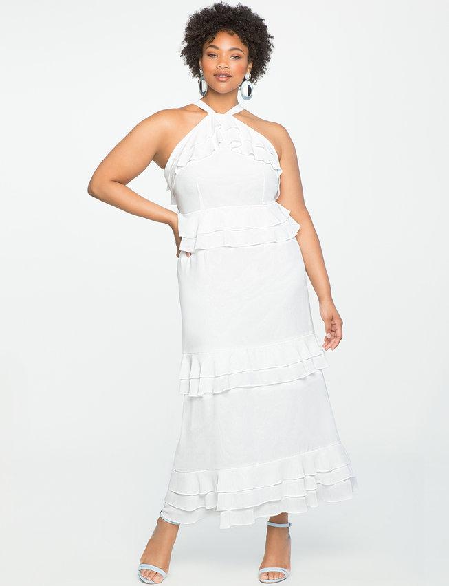 white plus size dress