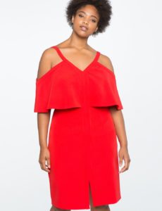 plus size red cold shoulder overlay dress from eloquii