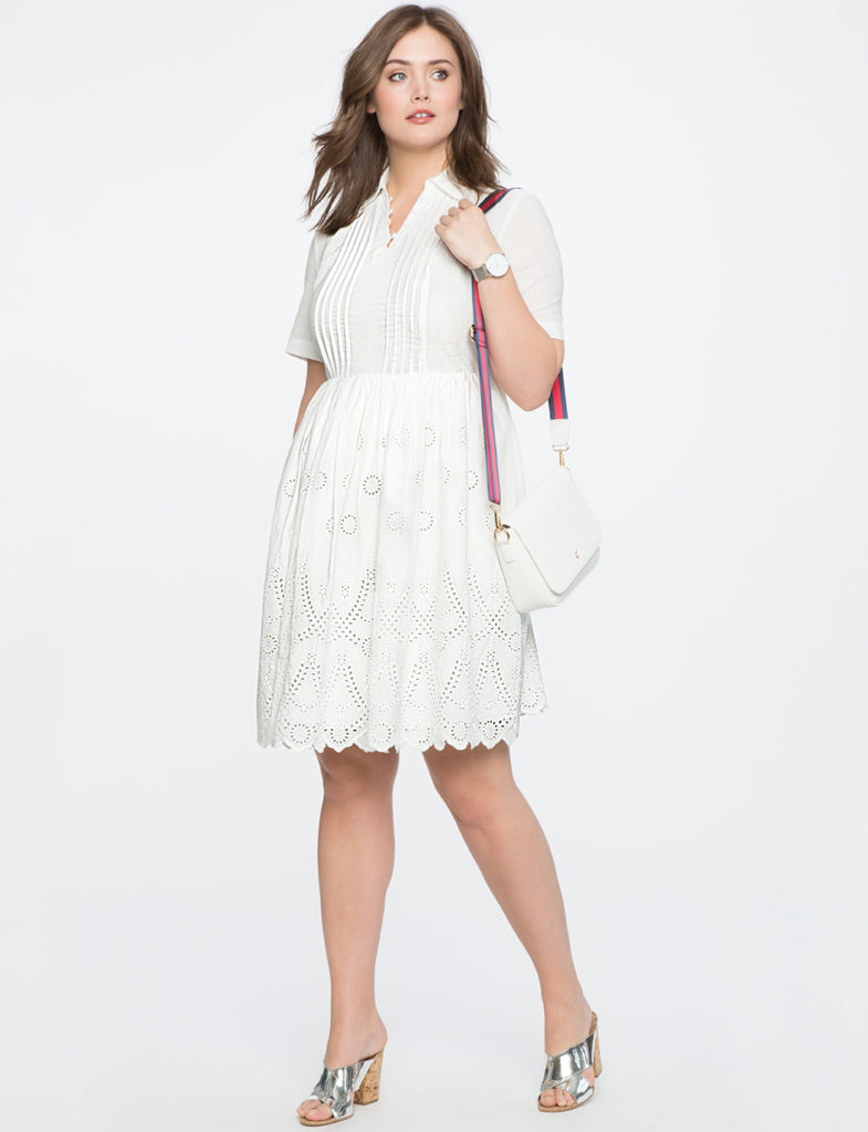 white fit & Flare plus size dress