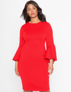 studio flare sleeve plus size red dress from eloquii