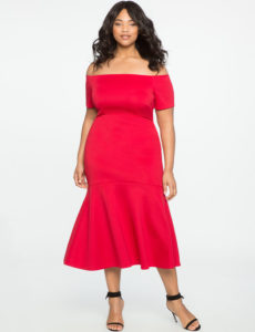 red plus size off the shoulder trumpet gown from eloquii