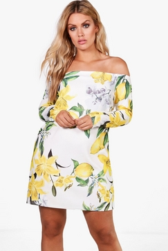 boohoo-plus-jemma-lemon-print-off-the-shoulder-dress