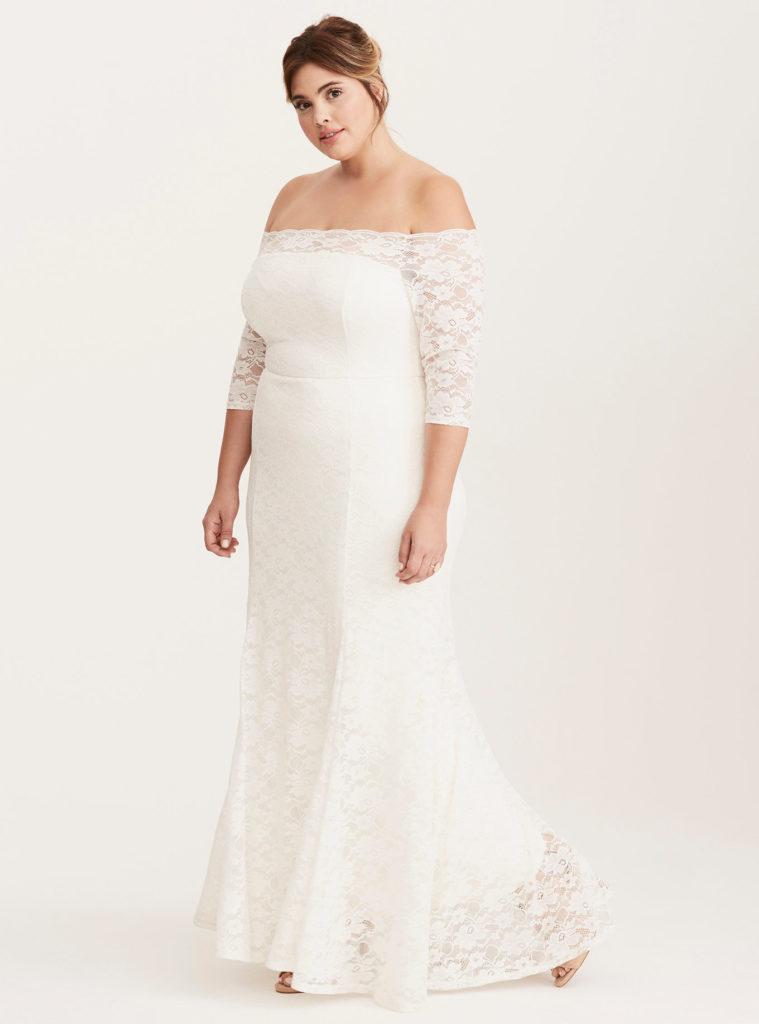 plus size white off shoulder lace gown