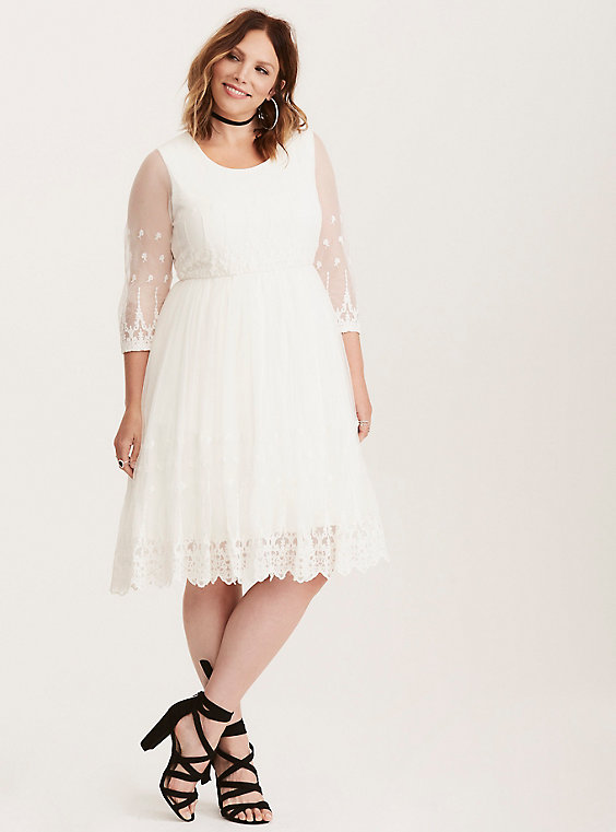 white embroidered mesh plus size dress from torrid