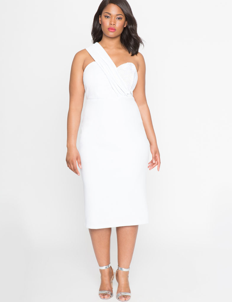 white plus size one shoulder dress