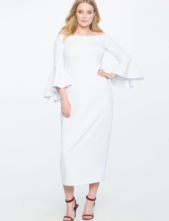 white plus size off the shoulder flare sleeve gown