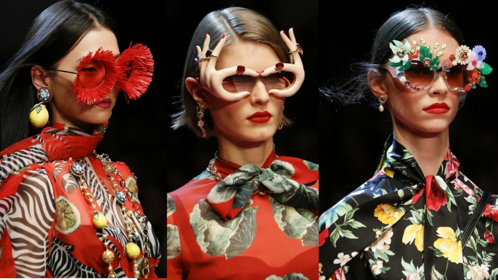 Models wearing sunglasses at the D&G SS18 Show in Milan