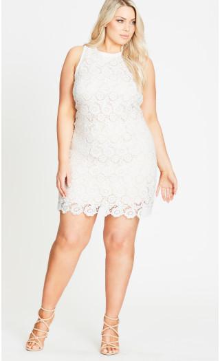 city chic white plus size tea party shift dress