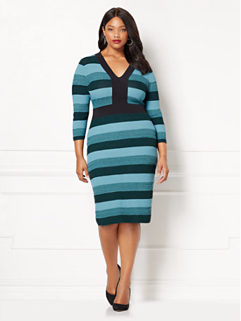 plus size stripe sweater dress from eva mendes by new york and company
