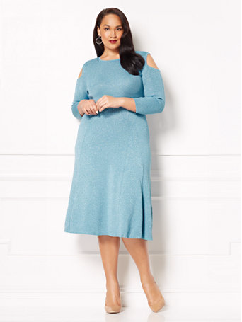 plus size blue sweater dress from new york and company