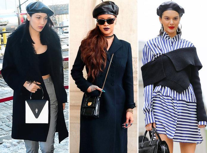 Celebrities wearing berets bella hadid, rihanna and kendall jenner