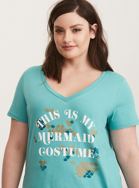 plus size mermaid costume v-neck tee