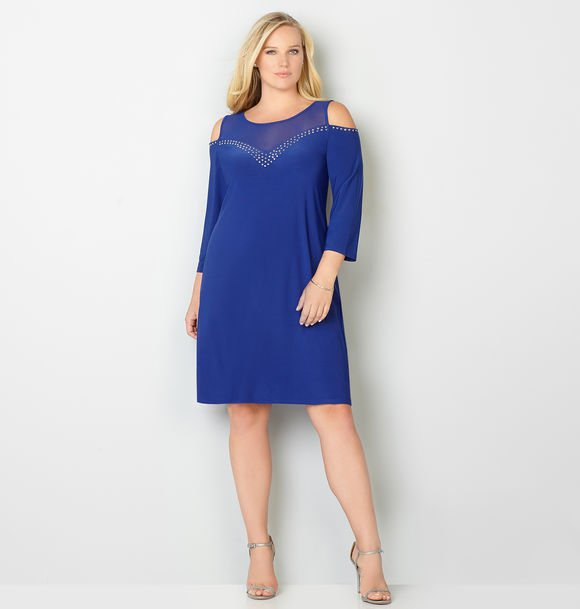 cobalt blue plus size cold shoulder rhinestone sheath