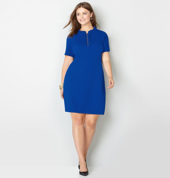 blue plus size sheath dress
