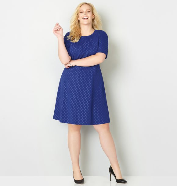 plus size blue fit and flare dress