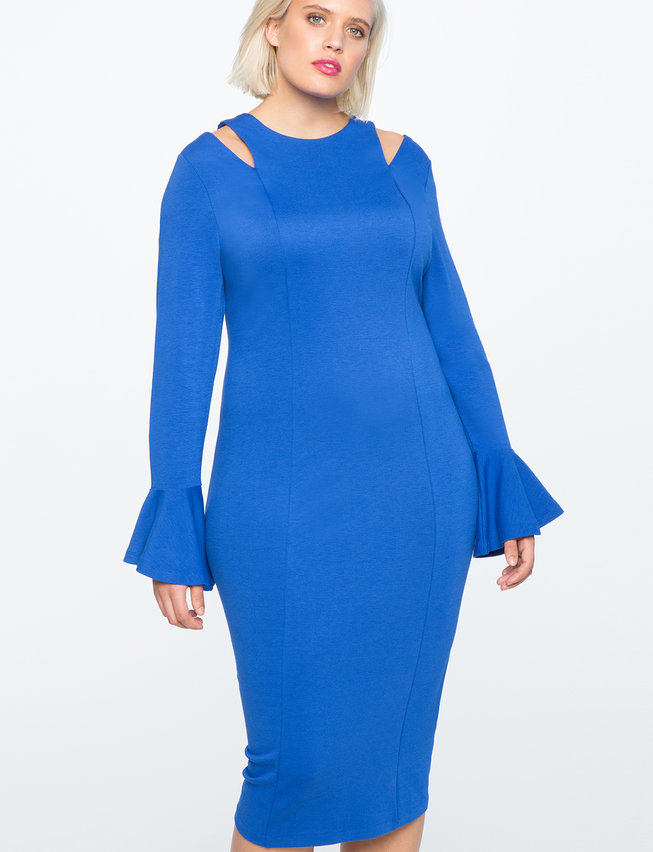 plus size blue sheath dress with cutouts