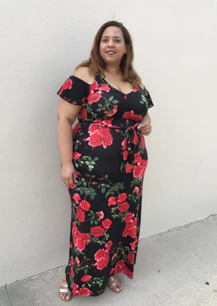 plus size off the shoulder floral maxi dress