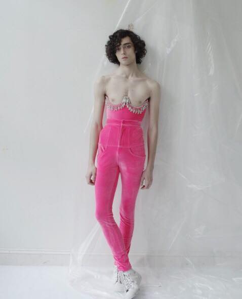 hot pink velour pants by cheng huai chuang