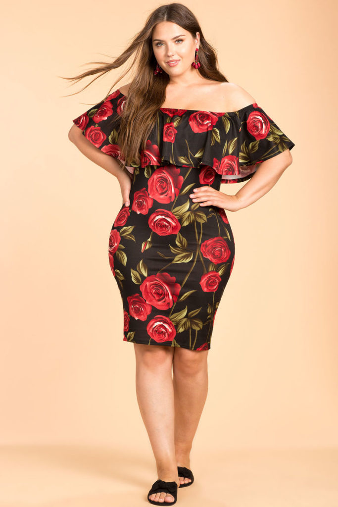 plus size red roses print dress