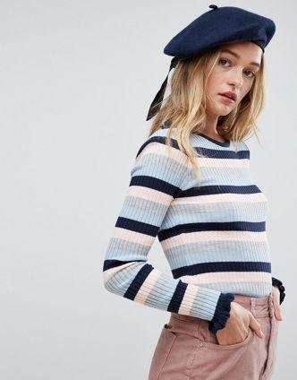 navy wool beret