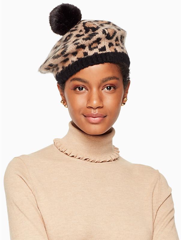 kate spade leopard print pom beanie