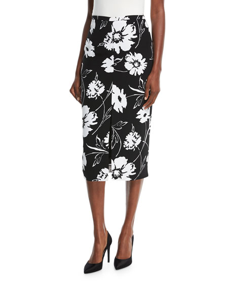 michael kors black and white floral print crepe cady pencil skirt