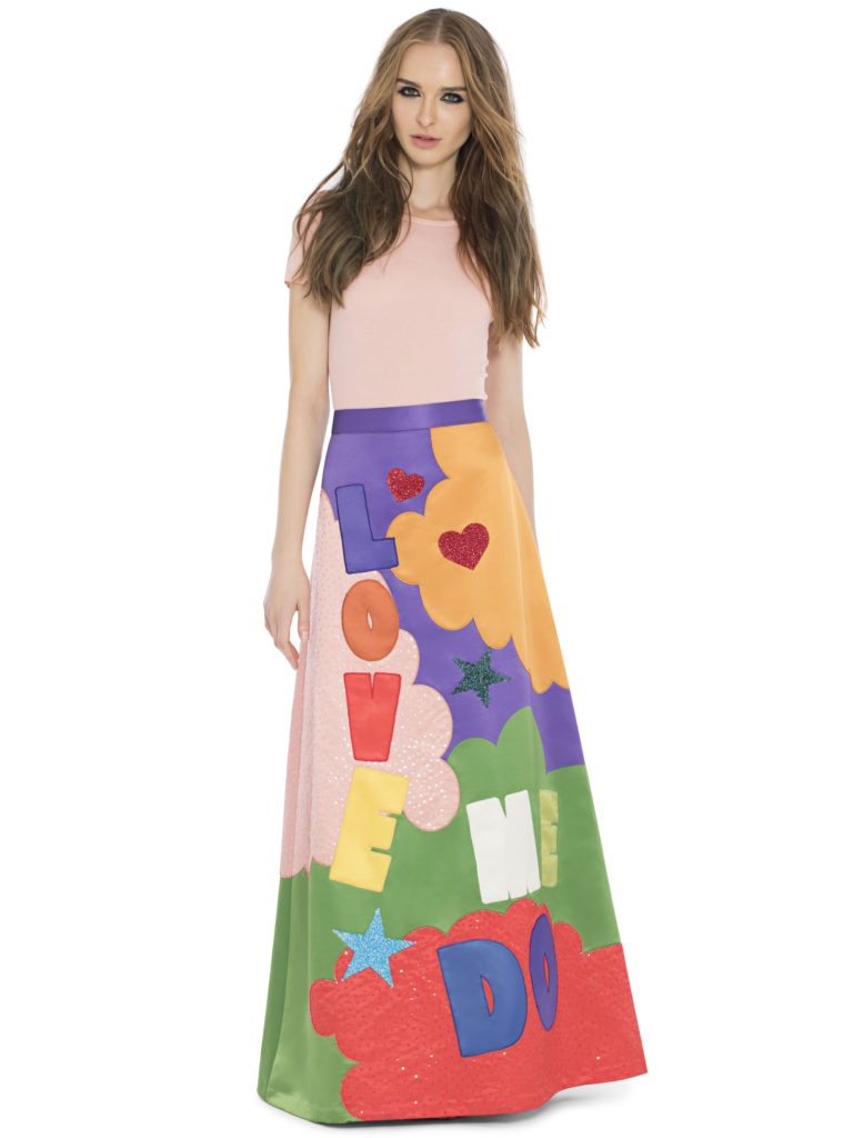 Alice and olivia embellishes aline gown skirt x the Beatles collection
