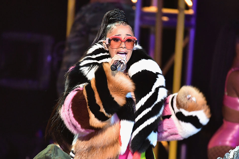 Cardi B performing at the 2017 BET Hip Hop Awards.