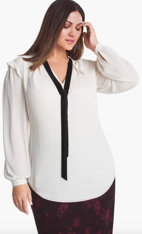 white house black market plus size velvet tie blouse